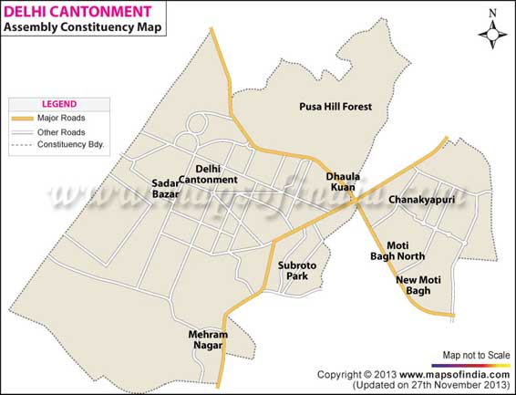 Delhi Cantt Delhi Assembly Election Results Candidate - Us embassy shantipath chanakyapuri new delhi map