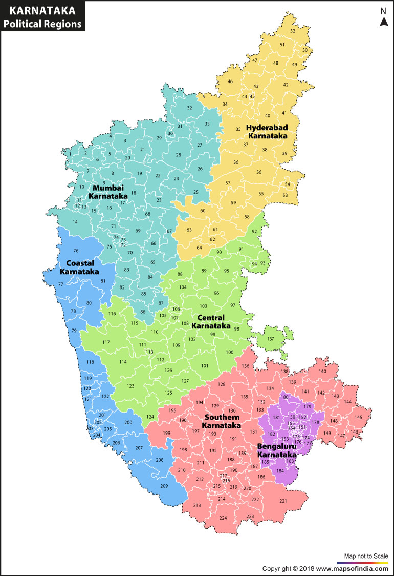 Political Regions of Karnataka Map